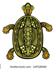 Fancy funny turtle drawn in stained glass style. Body is isolated on white. Vector  elements are grouped.