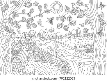fancy landscape with rustic fields for coloring book
