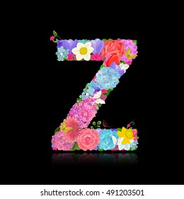 Fancy letter of beautiful flowers on black background Z