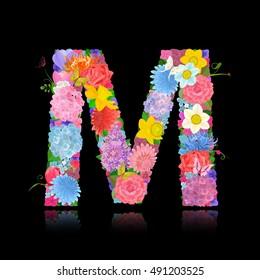 Fancy Letter Of Beautiful Flowers On Black Background M