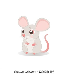 Fancy Little Mice Vector Illustration. Cute Sitting Mouse In Cartoon Style. Mice On A White Background.