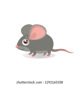 Fancy Little Mouse Vector Illustrations. Cute Running Mouse In Cartoon Style. Grey Mice On A White Background. Lonely Gentle Mouse.