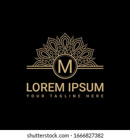 Fancy logo design, simple and clean logo with the initials luxurious M letter with a black background, suitable for restaurants, hotels, cafes, shops, fashion, beauty salons, etc.