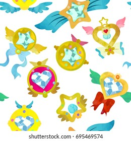 Fancy magical brooches. Seamless pattern. Watercolour imitation
