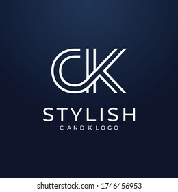 fancy monogram logo design with the initials letters C and K