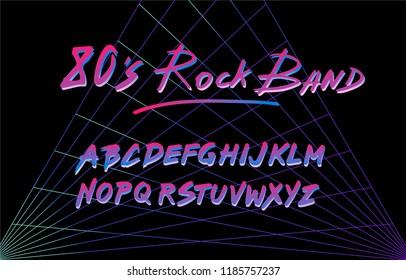 Fancy retrofuturistic neon font on dark backround. Synthwave/ vaporwave style.