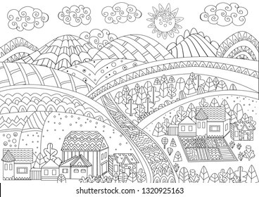 fancy rural landscape for your coloring page