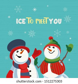 Fancy seasonal poster. Cartoon playful fun snowmen cartoon. Merry Christmas winter season greeting card wish. Holiday seasonal snow joke cute flyer background. New Year eve party vector illustration