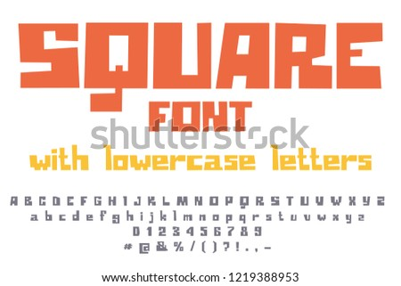 Fancy Square Game Font Uppercase Lowercase Stock Vector Royalty