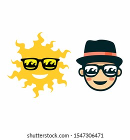 fancy sun and boy. fancy sunglasses and hat. mascot vector.