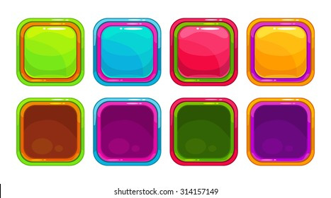Fancy vector colorful bright buttons and app icon frames, isolated on white