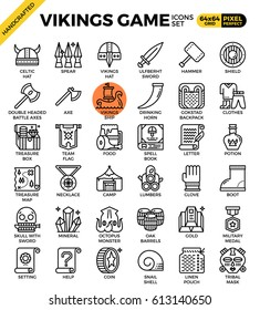 Fancy vikings game concept detailed line icons set in modern line icon style concept for ui, ux, web, app design