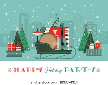 Fancy winter Holiday hand drawn vector poster. Musical instruments in Christmas sleigh cartoon design element, retro color minimal style. Winter New Year holidays season event background illustration