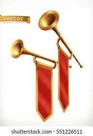 Fanfare. Gold trumpet, 3d vector icon
