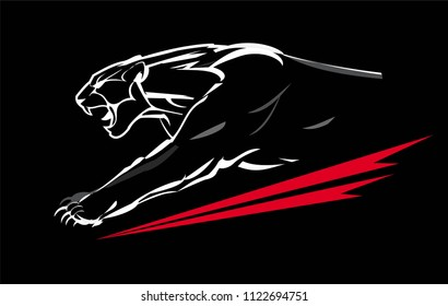 fang face muscular panther, roaring and crawling in the dark. white line art on the black background. charging panther with the light shape.