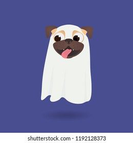 Fanny Halloween ghost. Cute dog dress up ghost suit. Little happy pug puppy in Halloween costume. Ghost Costumes for Dogs. Vector cartoon illustration.