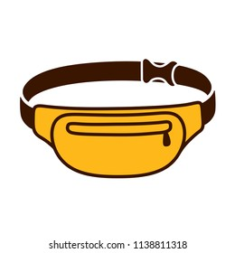 Fanny pack (waist bag) drawing. Isolated vector illustration.
