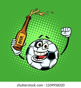 Fans with a bottle of beer. Football soccer ball. Funny character emoticon sticker. Sport world championship competition. Comic cartoon pop art retro vector illustration