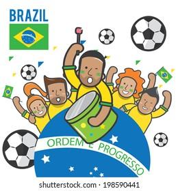 Fans cheering Brazil soccer team - vector