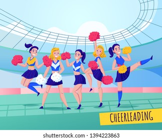 Fans cheering team colored composition team activity with five girls in uniforms vector illustration