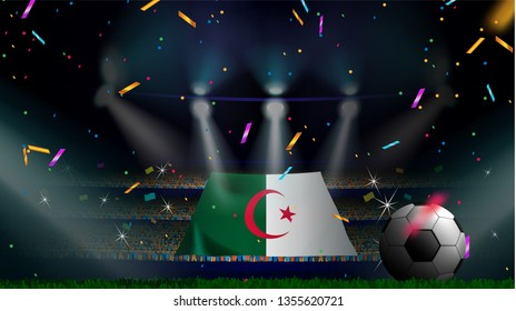 Fans hold the flag of Algeria among silhouette of crowd audience in soccer stadium with confetti to celebrate football game. Concept design for football result template