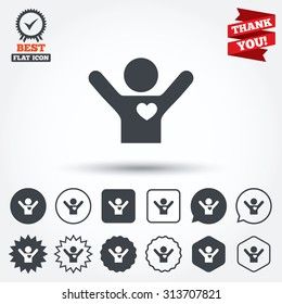 Fans love icon. Man raised hands up sign. Circle, star, speech bubble and square buttons. Award medal with check mark. Thank you. Vector