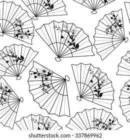 fans on the white background vector seamless pattern