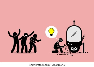 Fans Praising and Supporting an Inventor for Creating New Idea and Making New Thing. Artwork illustration depicts fanboys, supporters, followers, and inventor.