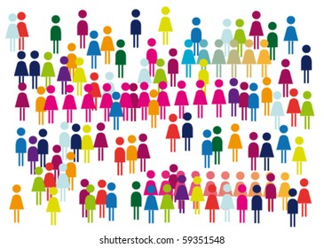 Fans, viewers, crowd of positive abstract picture.