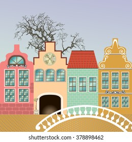 fantasie of medieval houses.  vector illustration, everything in separate layers