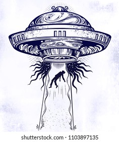 Fantastic Alien Spaceship. UFO abduction of a human with flying saucer icon. Conspiracy theory concept, tattoo art. Isolated vector illustration.