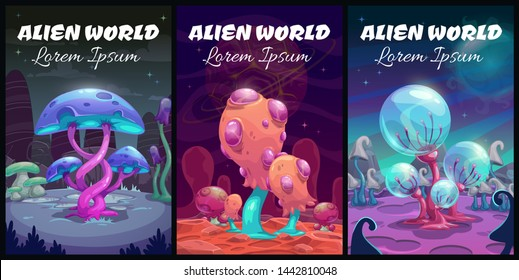 Fantastic background. Fantasy cartoon alien world landscape. Magic book covers set. Vector mystery planet illustration.