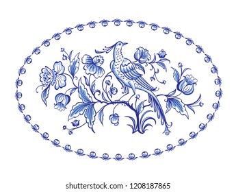 Fantastic bird of paradise sitting on a bush of fabulous flowers in an oval frame, blue pattern, painting, Delft, Gzhel, English porcelain, vector illustration.