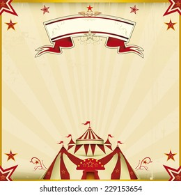 Fantastic brown circus square card. A circus card for your show.