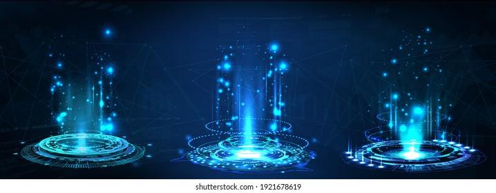 Fantastic Circle portals, holograms teleport gadgets. Sci-fi digital hi-tech elements for presentation GUI, VR, games or your product. HUD projector, magic portal, circle teleport podium. Vector