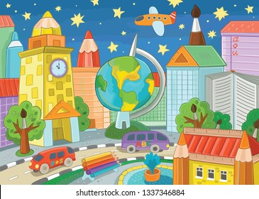 Fantastic city. City of science and education. Illustration of literacy day, at home from books, educational supplies, office. Education design for children