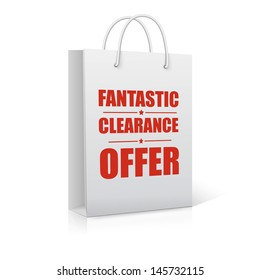 Fantastic clearance offer, shopping bag,  vector illustration
