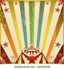 Fantastic color circus square background. A circus square invitation with multicolored sunbeams for your show.