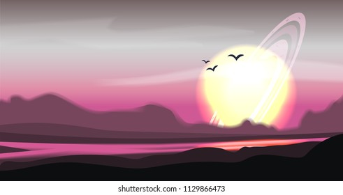 Fantastic colored panorama, fantasy vector landscape. Fantasy planet illustration. Space vector sci-fi background, gas giant with rings in the sky, fantastic alien landscape. Mountain valley with