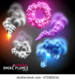 Fantastic colourful smoke rings, fluffy clouds and smoke plumes. Vector illustration.