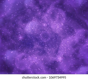 Fantastic cosmos illustration. Abstract purple vector background with blurry texture and bokeh