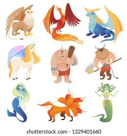 Fantastic creatures. Phoenix dragon hybrid animals flying lion minotaur centaur vector cartoon pictures