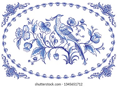 Fantastic fabulous bird and flowers, decor or painting in the Dutch style, pattern for tiles and other designs. Traditional Delft flower ornament.