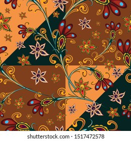 Fantastic, fabulous flowers in a folk style. Seamless, endless pattern. oriental ornament. Elegant pattern for fashionable prints, textures, textiles. Imitation of a patchwork, handwork. Vector graphi
