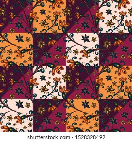 Fantastic, fabulous flowers in a folk style. Seamless, endless pattern. oriental ornament. Elegant pattern for fashionable prints, textures, textiles. Imitation of a patchwork, handwork. Vector