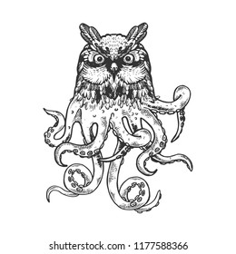 Fantastic fabulous owl octopus animal engraving vector illustration. Scratch board style imitation. Black and white hand drawn image.