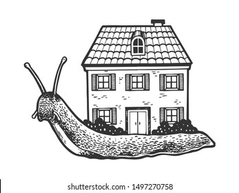 Fantastic fabulous snail with house instead of shell sketch engraving vector illustration. Tee shirt apparel print design. Scratch board style imitation. Black and white hand drawn image.