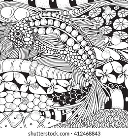 Fantastic fish float in the sea bottom. Coloring book page for adult. Zen art.  Hand-drawn, floral, doodle, vector, zentangle design elements. Black and white.