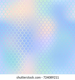 Fantastic fish skin pattern with scale ornament. Fishscale vector background. Pale mermaid skin background texture. Magic mermaid seamless pattern. Marshmallow pastel backdrop. Mesh seamless pattern