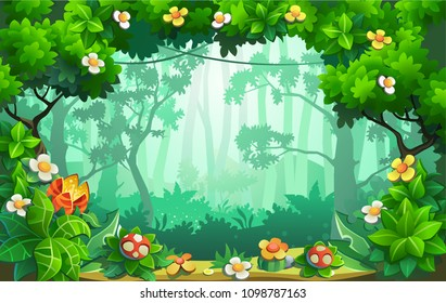 Fantastic forest of flowers, fabulous jungle, tropics. Vector background.